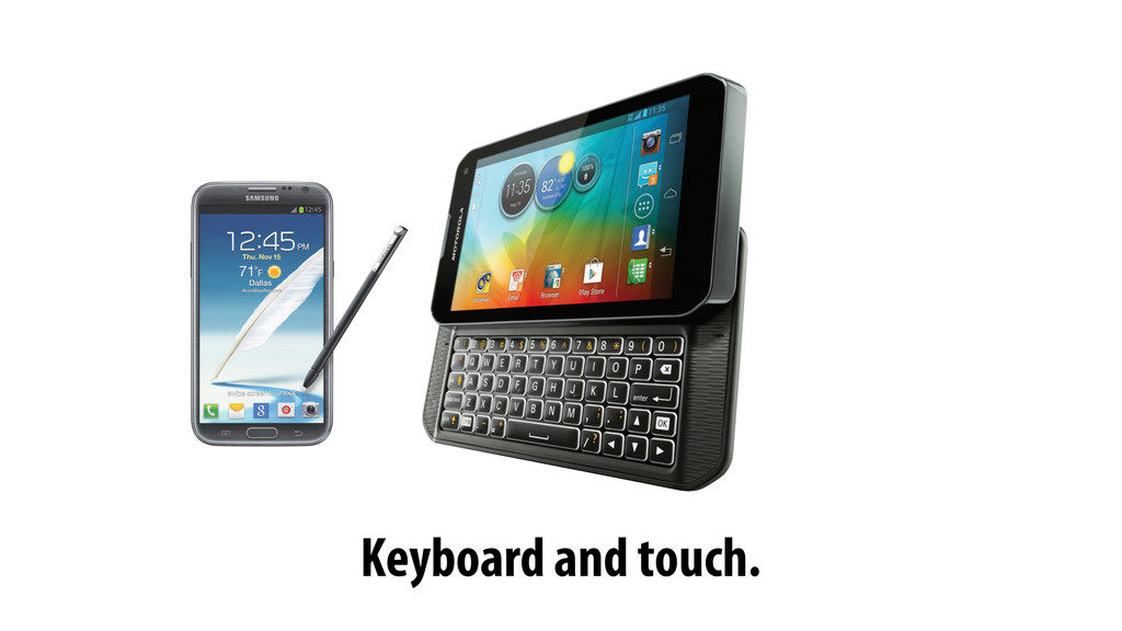 Keyboard and touch.