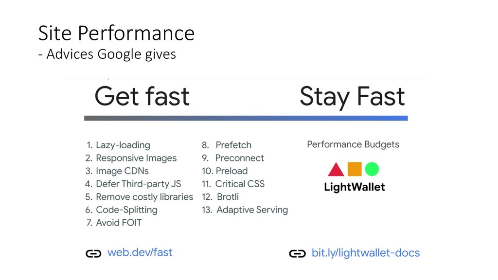 Site Performance - Advices Google gives