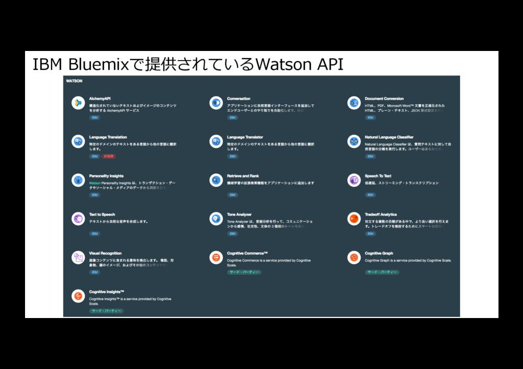 IBM Bluemixで提供されているWatson API