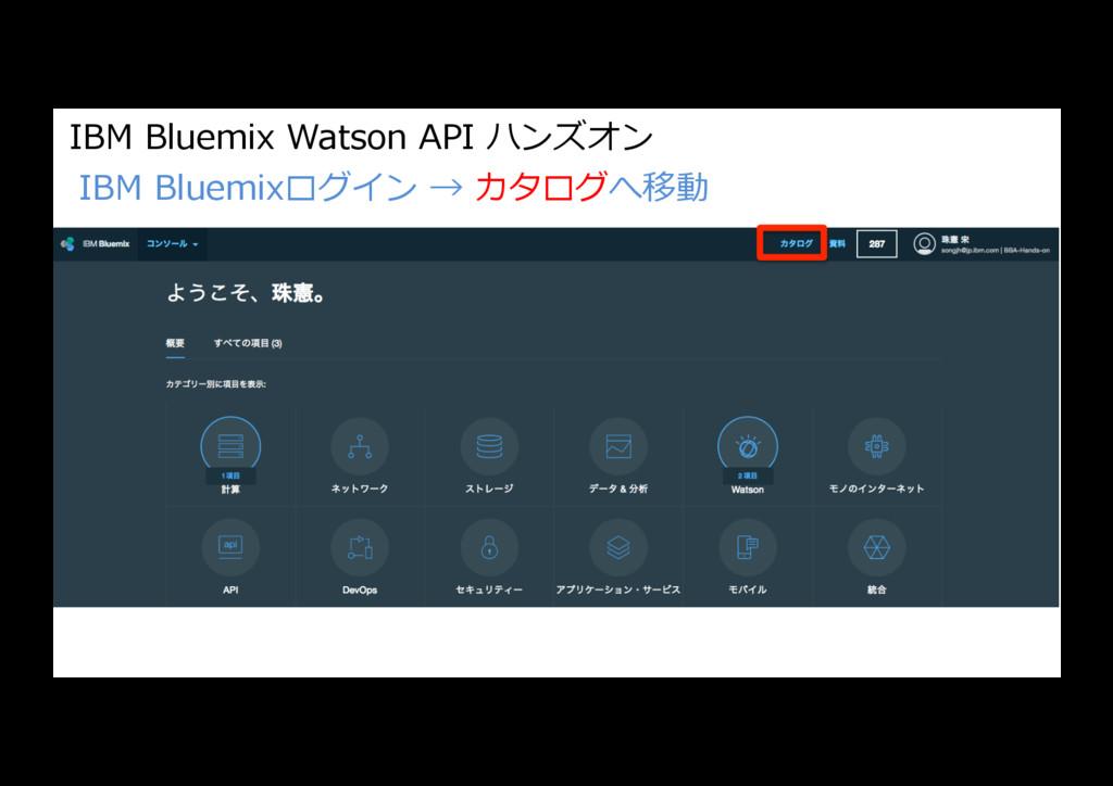 IBM Bluemix Watson API ハンズオン IBM Bluemixログイン → ...