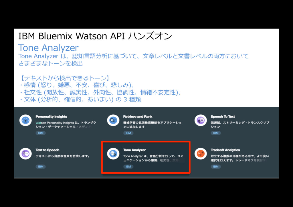 IBM Bluemix Watson API ハンズオン Tone Analyzer Tone...