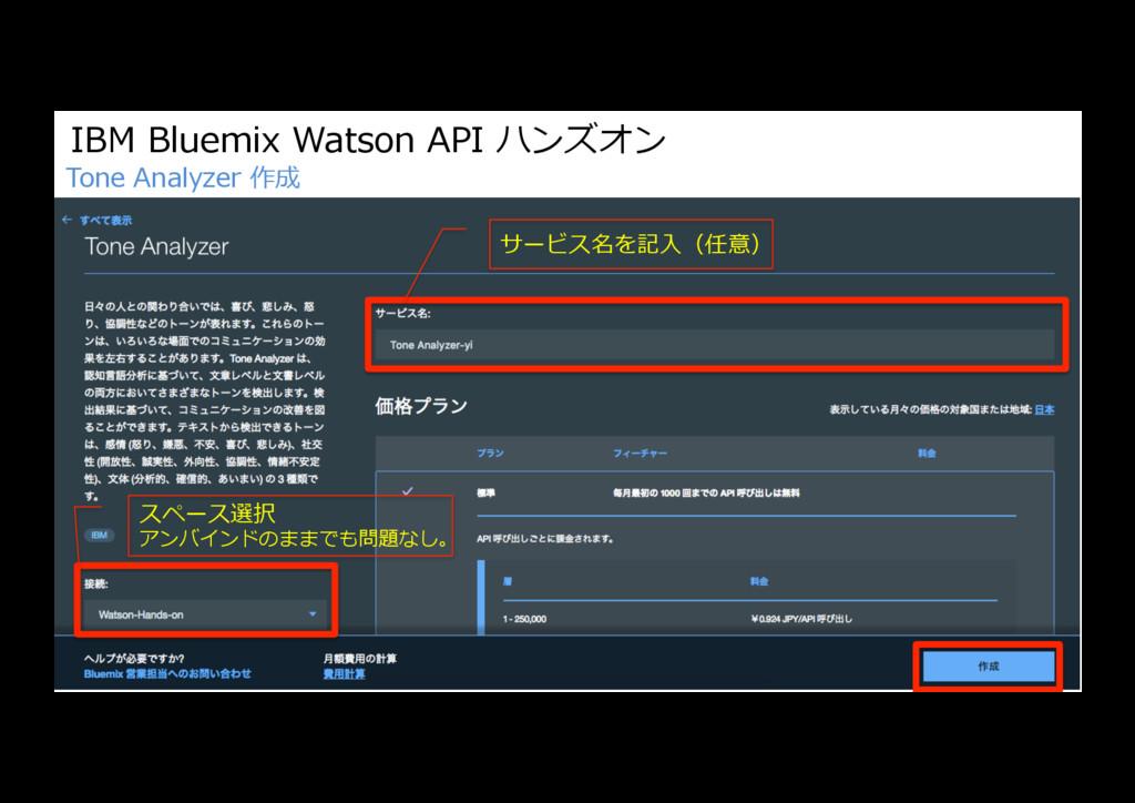 IBM Bluemix Watson API ハンズオン Tone Analyzer 作成 サ...