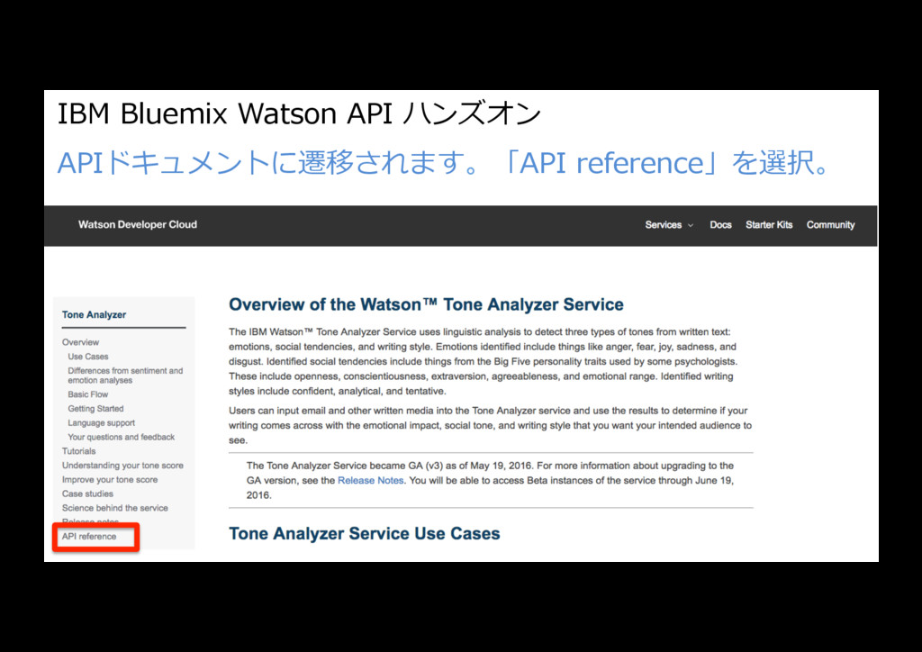 IBM Bluemix Watson API ハンズオン APIドキュメントに遷移されます。「...