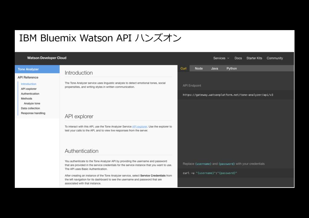 IBM Bluemix Watson API ハンズオン