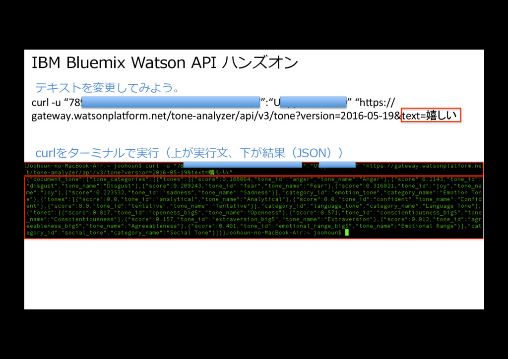 "IBM Bluemix Watson API ハンズオン curl -u ""7898d8fd-..."