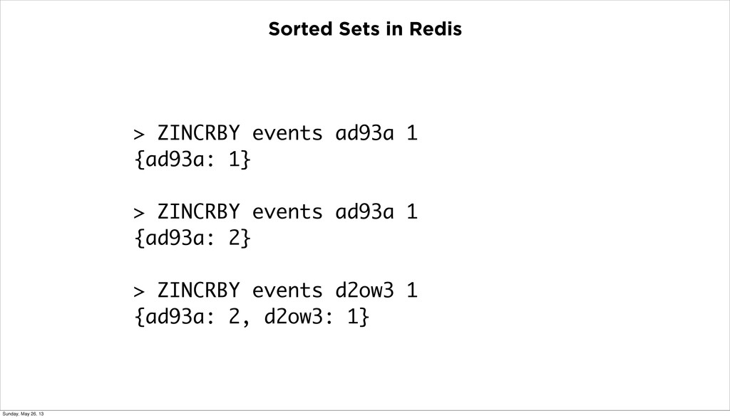 Sorted Sets in Redis > ZINCRBY events ad93a 1 {...