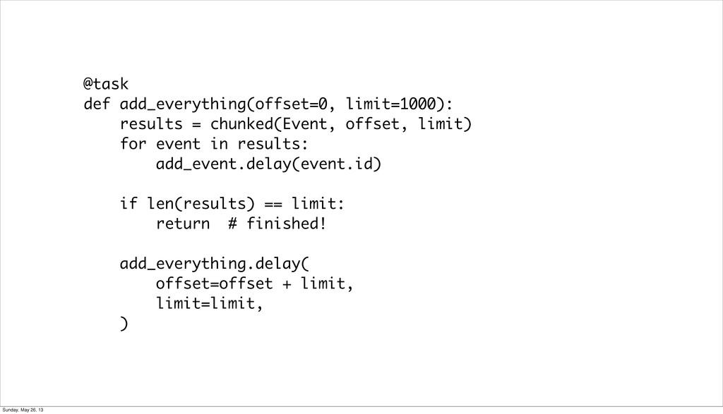 @task def add_everything(offset=0, limit=1000):...