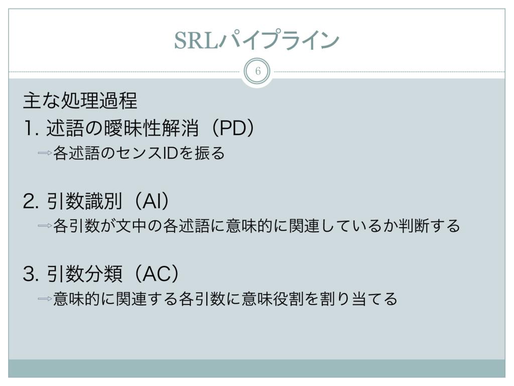 SRLパイプライン 6 ओͳॲཧաఔ ड़ޠͷᐆດੑղফʢ1%ʣ ֤ड़ޠͷηϯε*%...