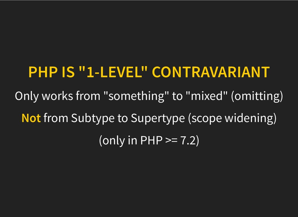 "PHP IS ""1-LEVEL"" CONTRAVARIANT PHP IS ""1-LEVEL""..."