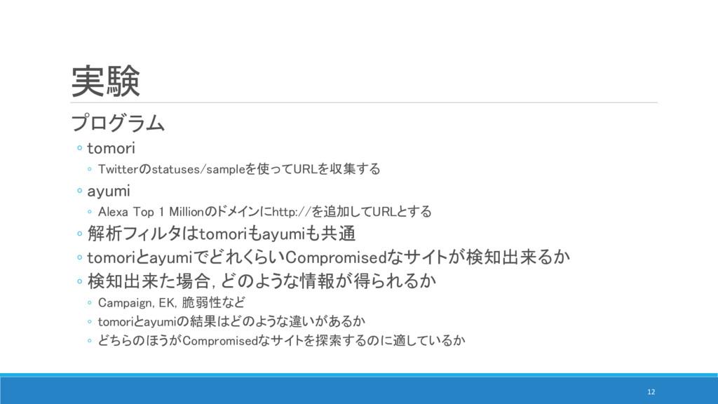 実験 プログラム ◦ tomori ◦ Twitterのstatuses/sampleを使って...