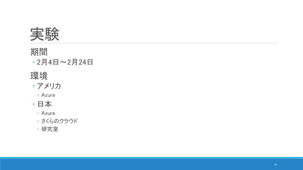 実験 期間 ◦ 2月4日~2月24日 環境 ◦ アメリカ ◦ Azure ◦ 日本 ◦ Azu...
