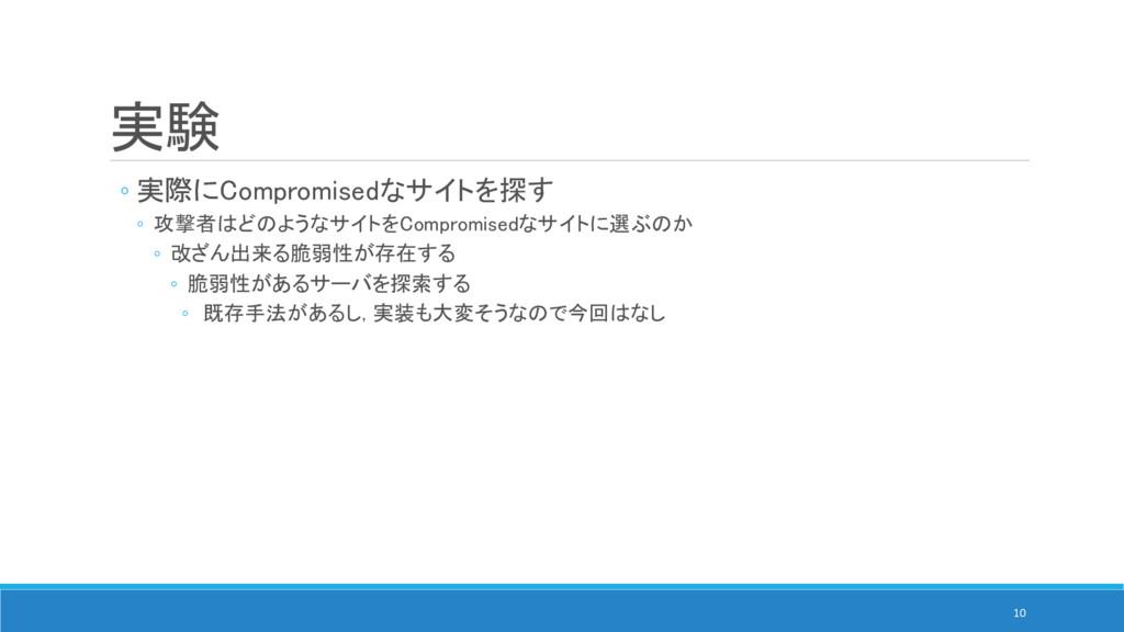 実験 ◦ 実際にCompromisedなサイトを探す ◦ 攻撃者はどのようなサイトをCompr...
