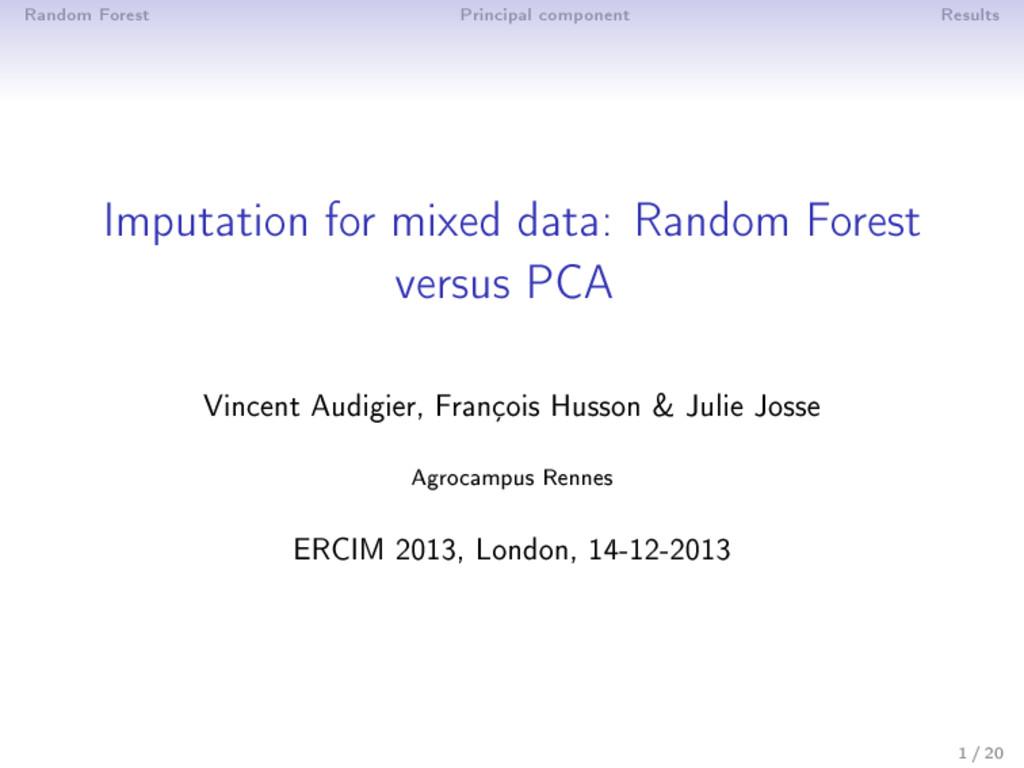 Random Forest Principal component Results Imput...