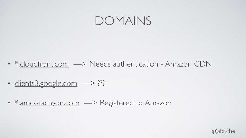 @ablythe DOMAINS • *.cloudfront.com —> Needs au...