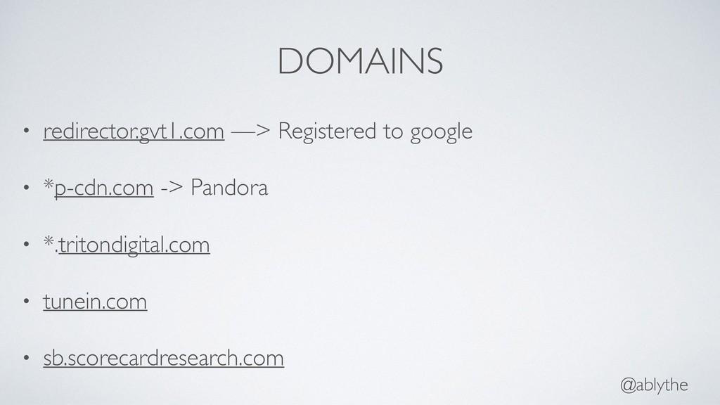 @ablythe DOMAINS • redirector.gvt1.com —> Regis...