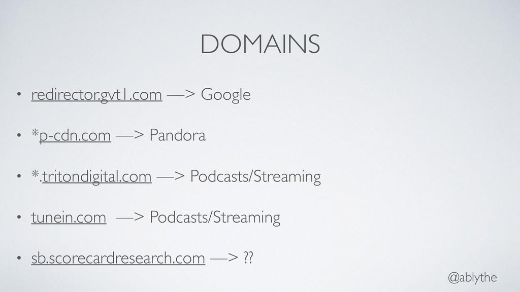 @ablythe DOMAINS • redirector.gvt1.com —> Googl...
