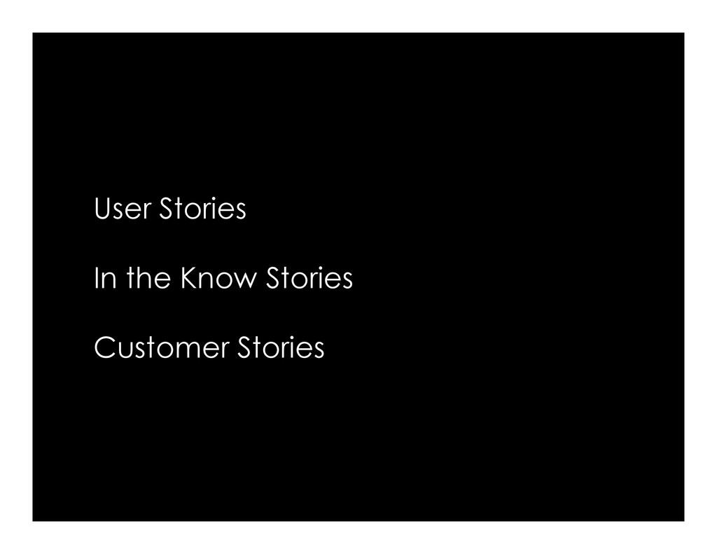 User Stories In the Know Stories In the Know St...