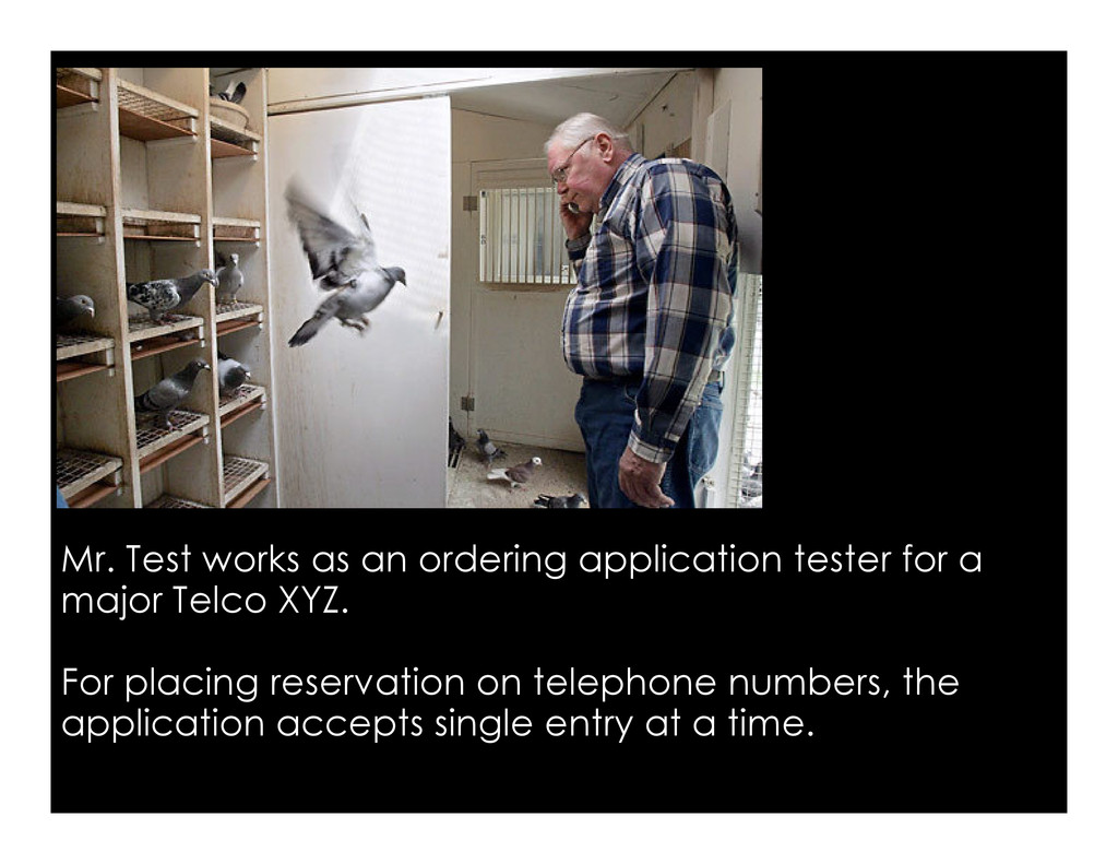 Mr. Test works as an ordering application teste...
