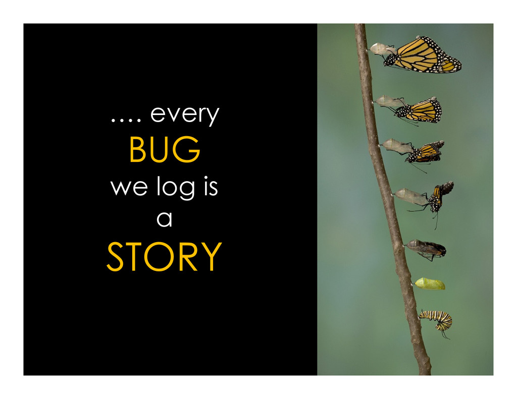 …. every BUG we log is we log is a STORY