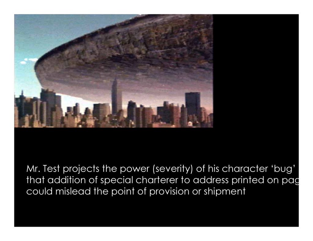 Mr. Test projects the power (severity) of his c...