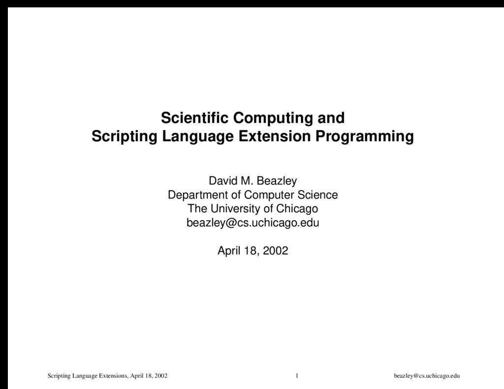 Scripting Language Extensions, April 18, 2002 1...