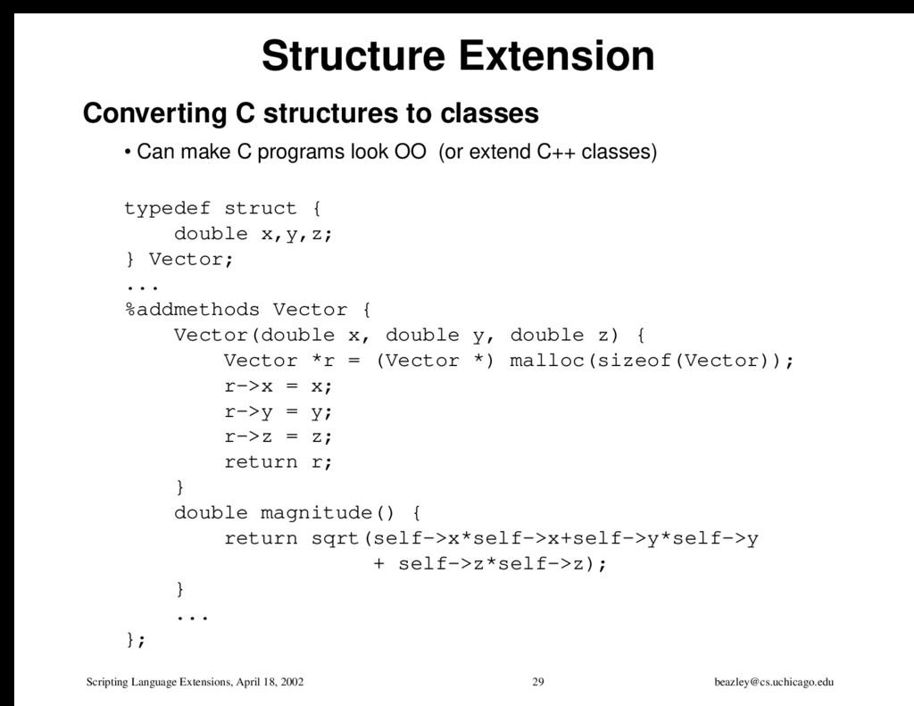 Scripting Language Extensions, April 18, 2002 2...