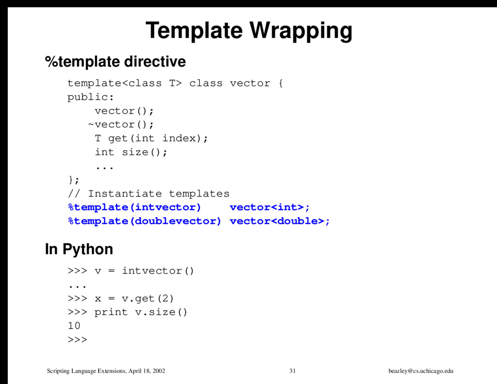 Scripting Language Extensions, April 18, 2002 3...
