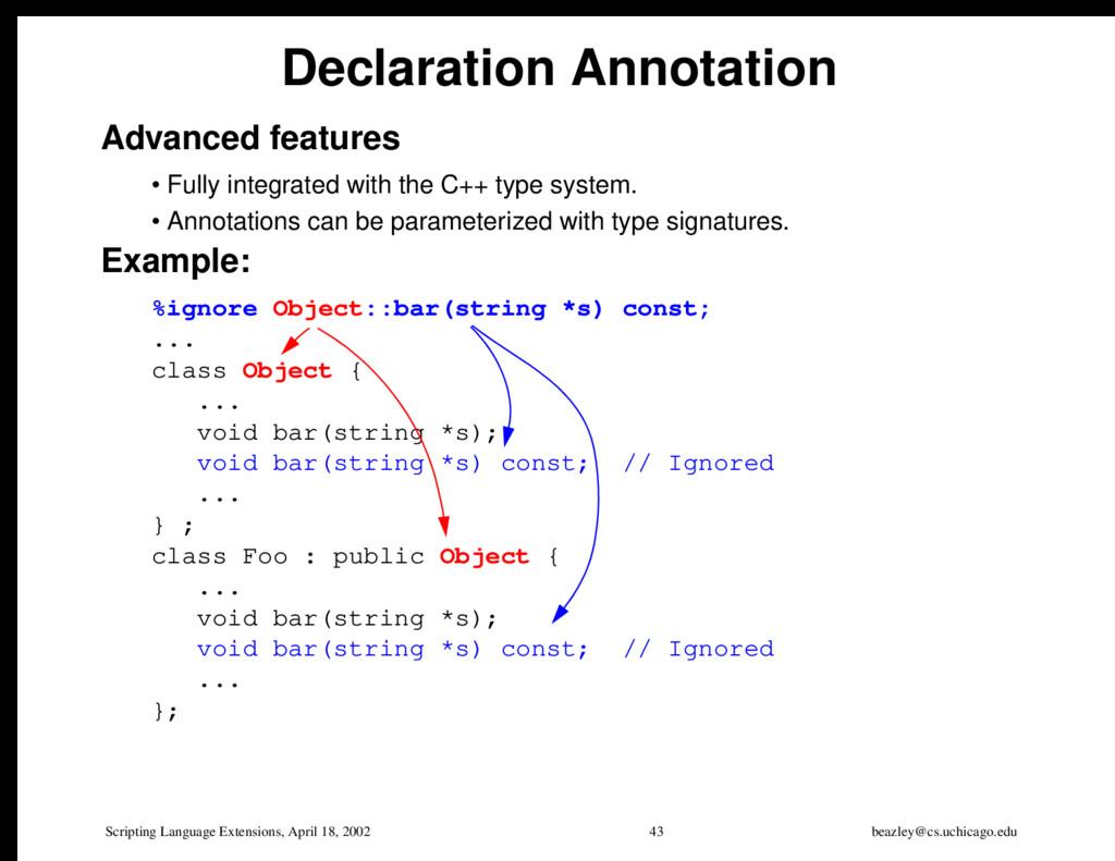 Scripting Language Extensions, April 18, 2002 4...