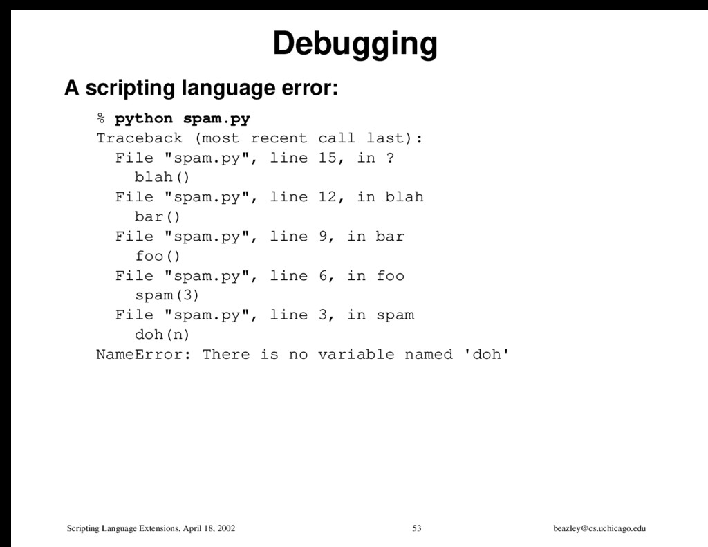 Scripting Language Extensions, April 18, 2002 5...