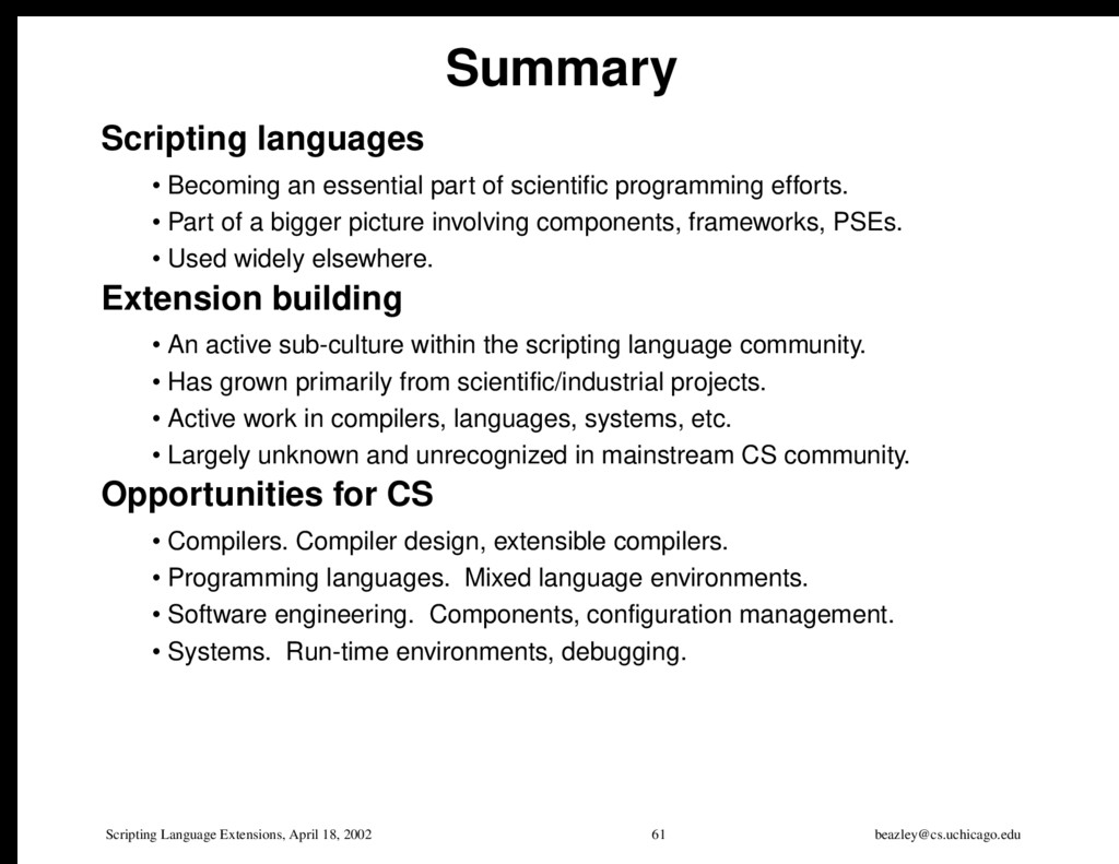 Scripting Language Extensions, April 18, 2002 6...