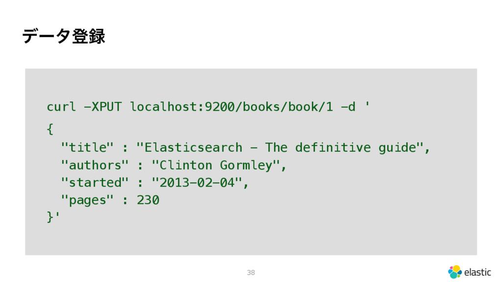 σʔλొ 38 curl -XPUT localhost:9200/books/book/1...
