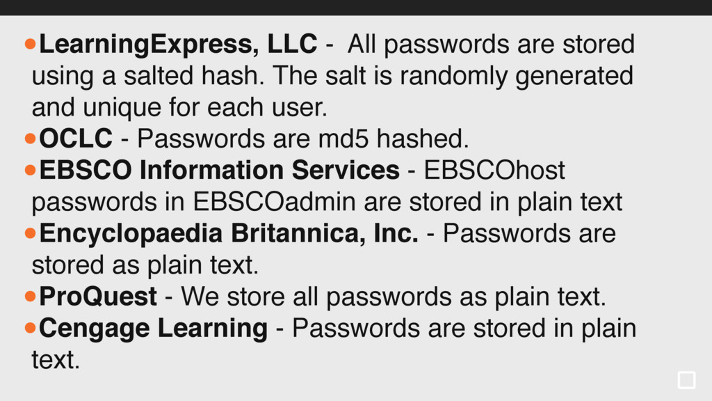 •LearningExpress, LLC - All passwords are store...