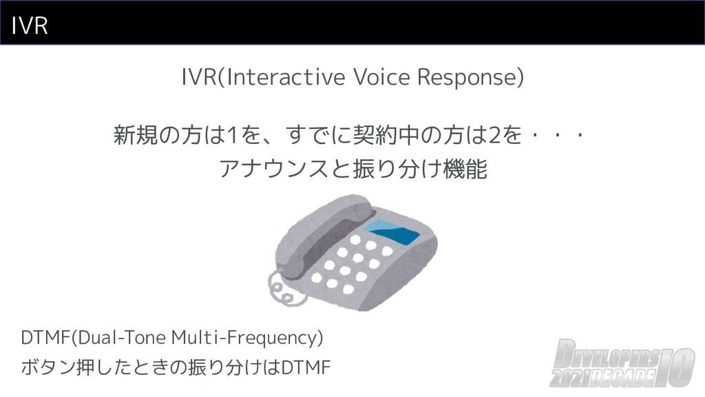 IVR IVR(Interactive Voice Response) 新規の方は1を、すでに...