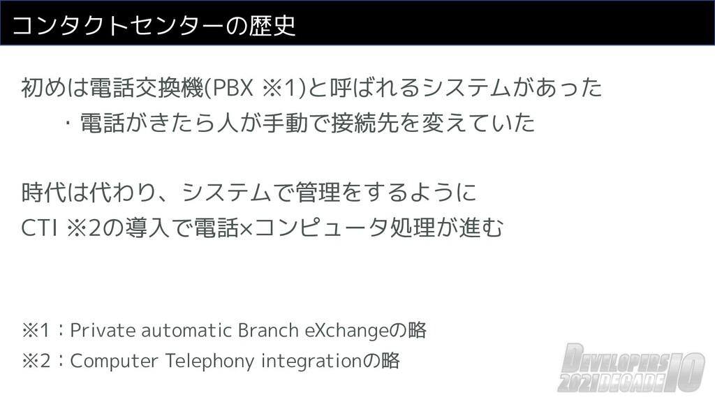 コンタクトセンターの歴史 初めは電話交換機(PBX ※1)と呼ばれるシステムがあった ・電話が...