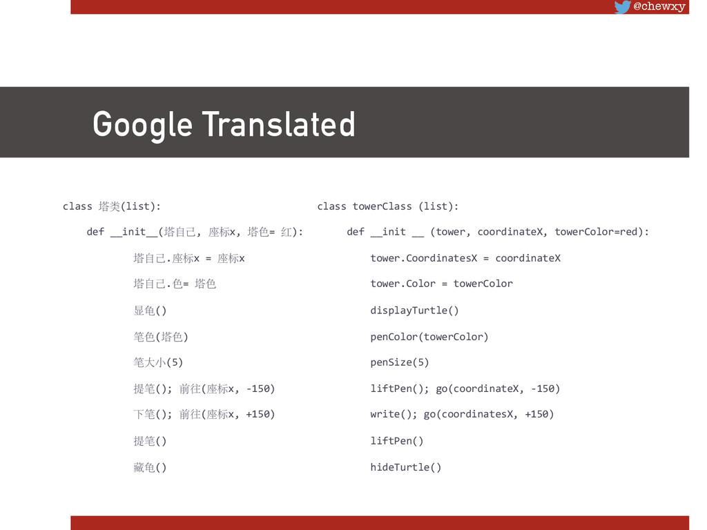 @chewxy Google Translated class 塔类(list):...