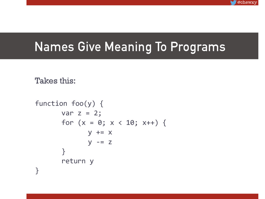 @chewxy Names Give Meaning To Programs Takes t...