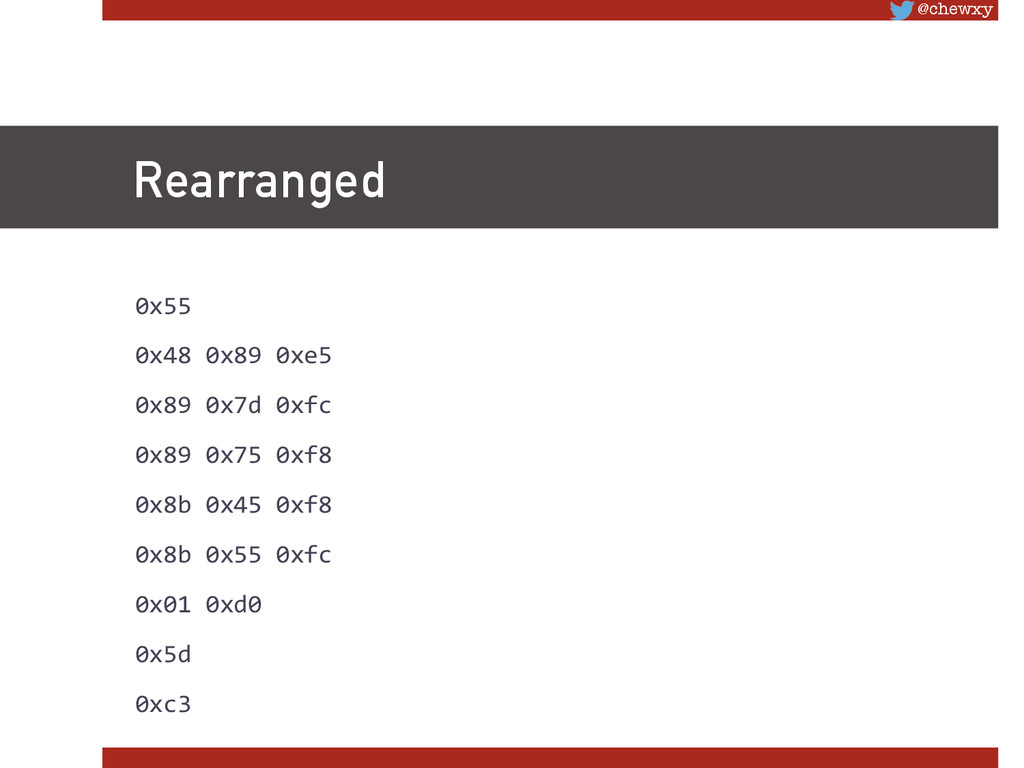 @chewxy Rearranged 0x55      ...