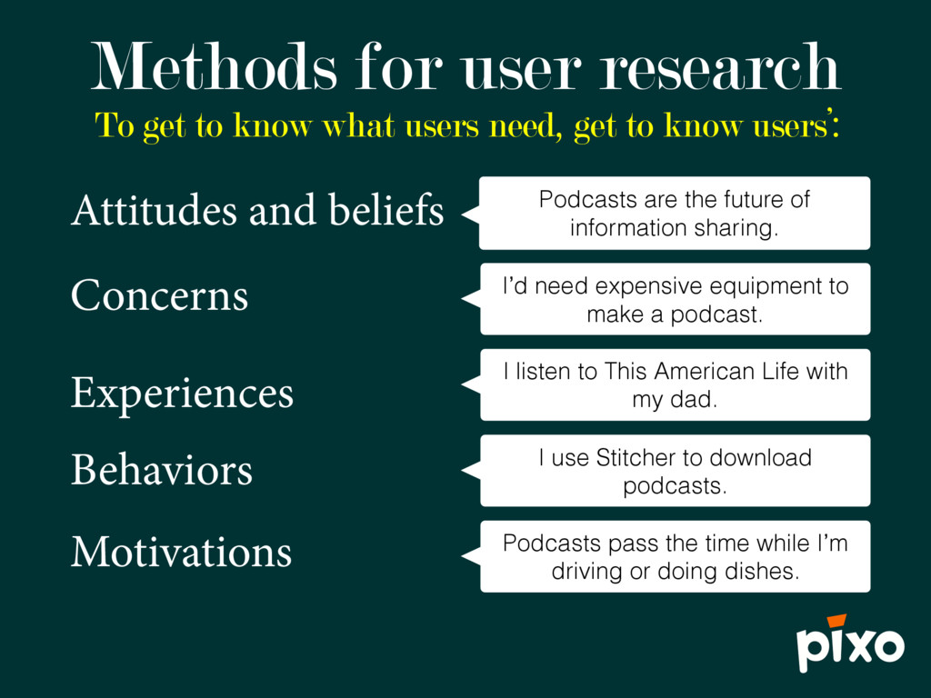 To get to know what users need, get to know use...