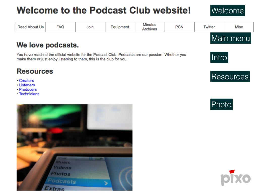 Welcome Main menu Intro Resources Photo