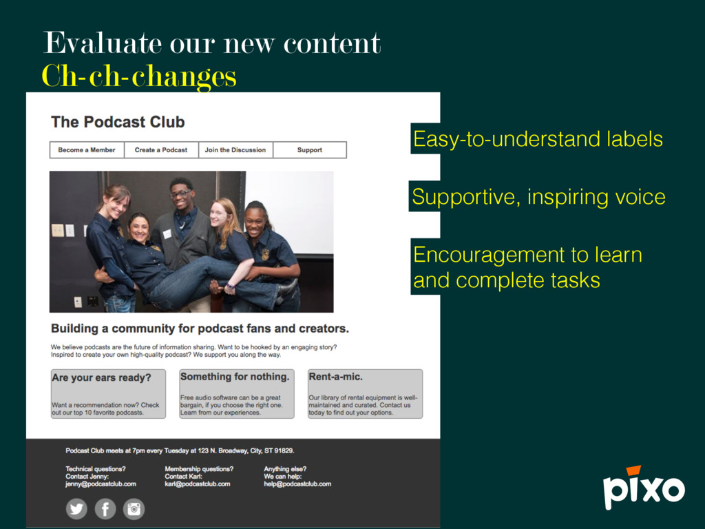 Evaluate our new content Ch-ch-changes Supporti...