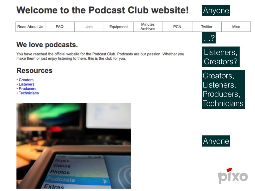 Anyone …? Listeners, Creators? Creators,  List...