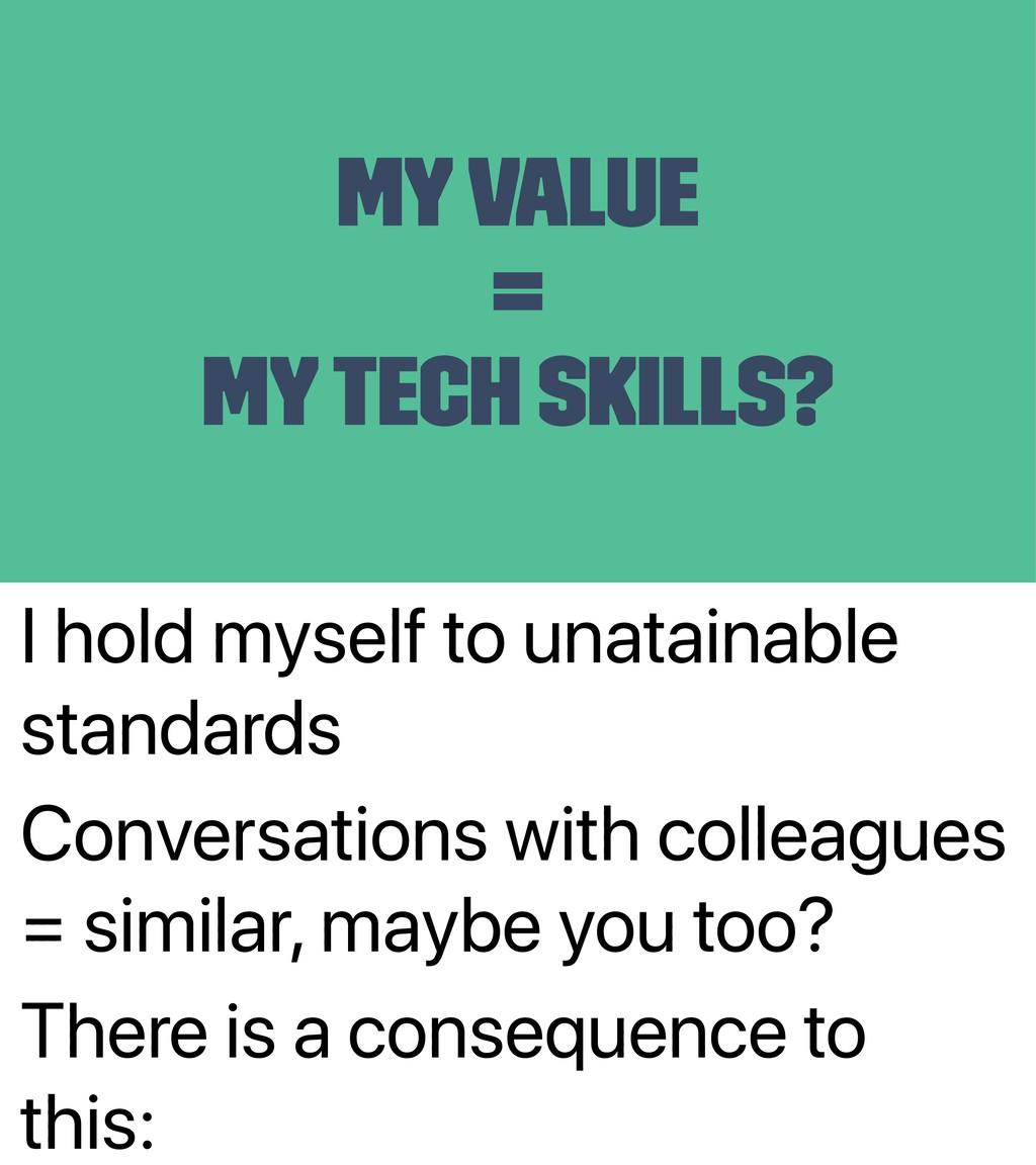 I hold myself to unatainable standards Conversa...