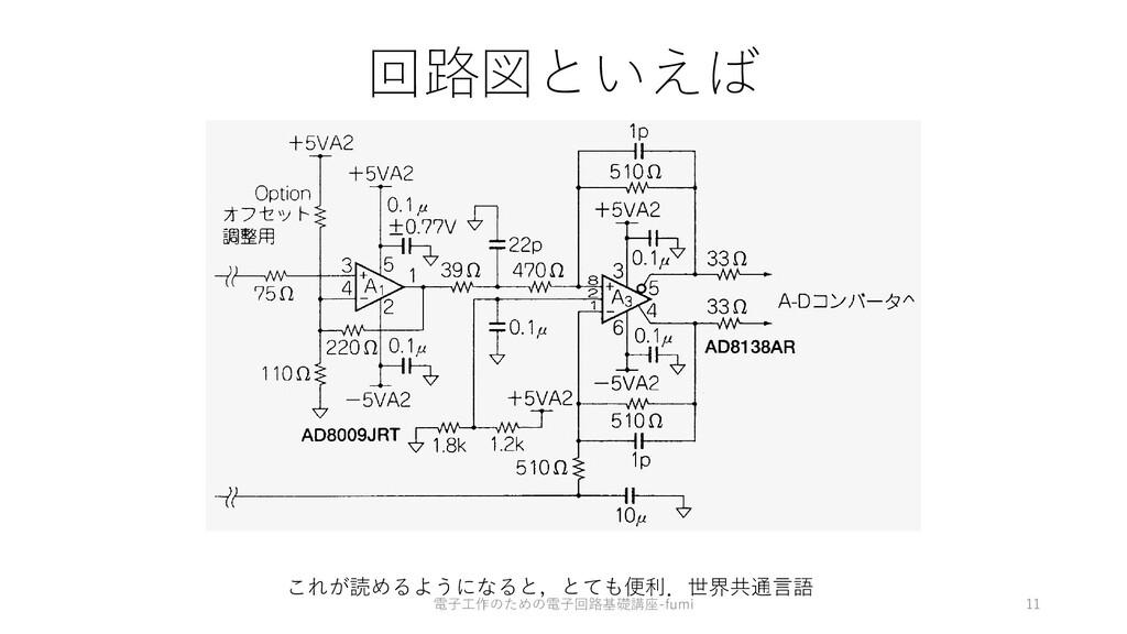 回路図といえば 11 これが読めるようになると,とても便利.世界共通⾔語 電⼦⼯作のための電⼦...