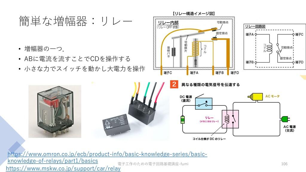簡単な増幅器:リレー • 増幅器の⼀つ. • ABに電流を流すことでCDを操作する • ⼩さな...