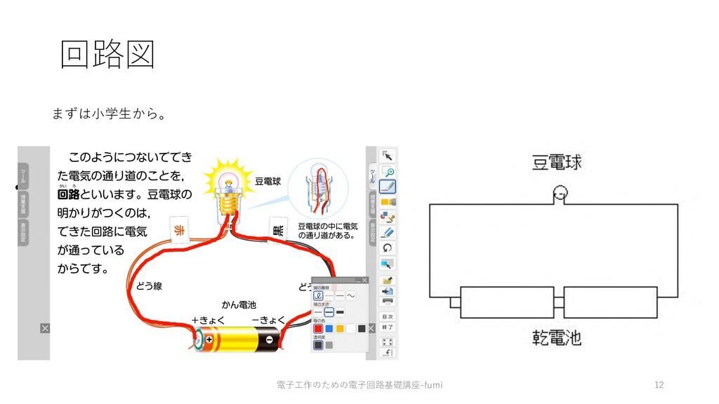 回路図 • まずは⼩学校から。 まずは⼩学⽣から。 12 電⼦⼯作のための電⼦回路基礎講座-f...