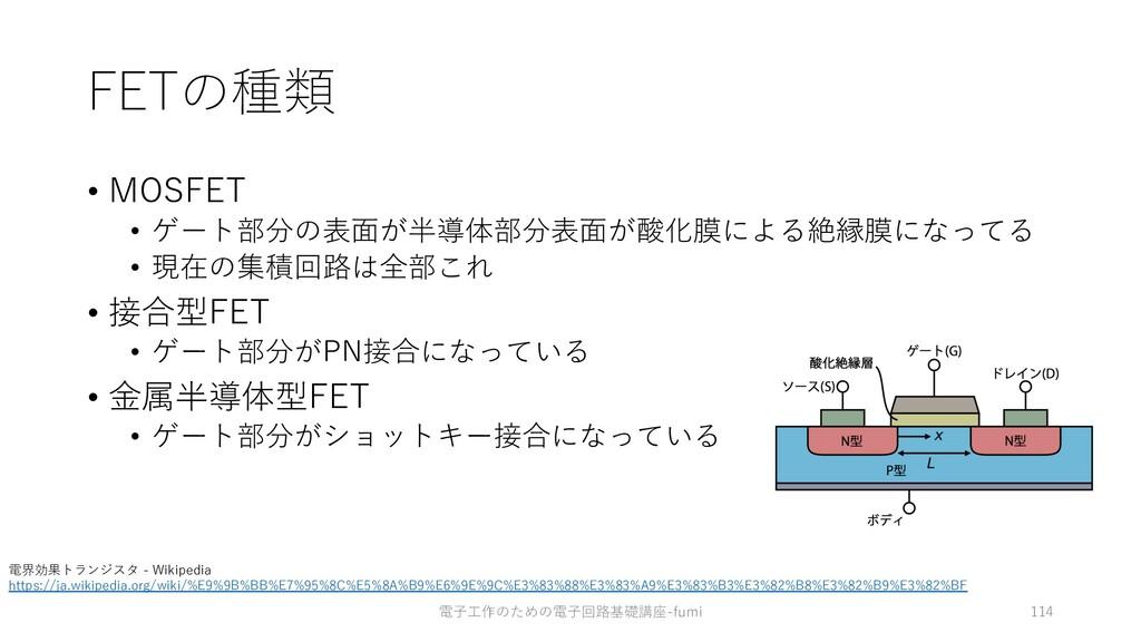 FETの種類 • MOSFET • ゲート部分の表⾯が半導体部分表⾯が酸化膜による絶縁膜になっ...