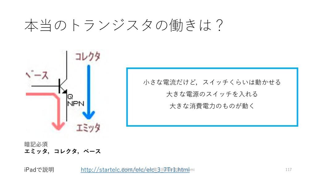 本当のトランジスタの働きは? 117 暗記必須 エミッタ,コレクタ,ベース iPadで説明 ⼩...