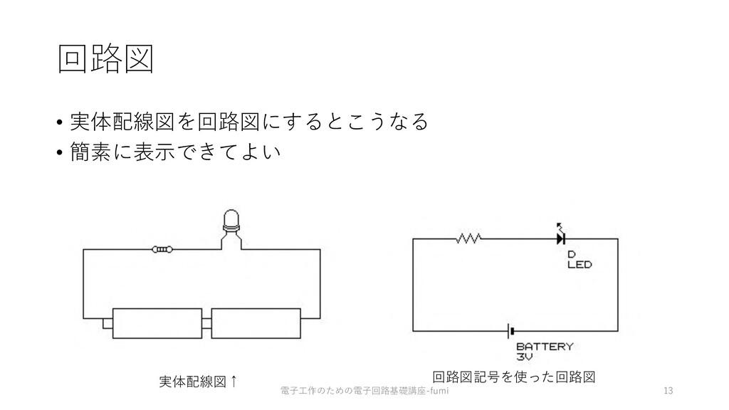 回路図 • 実体配線図を回路図にするとこうなる • 簡素に表⽰できてよい 13 実体配線図↑ ...
