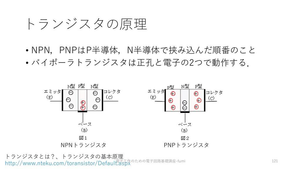 トランジスタの原理 • NPN,PNPはP半導体,N半導体で挟み込んだ順番のこと • バイポー...