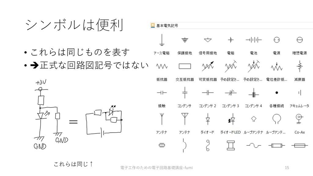 シンボルは便利 • これらは同じものを表す • è正式な回路図記号ではない 15 これらは同じ...